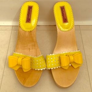 Betsey Johnson Wooden Heels with Yellow Bow